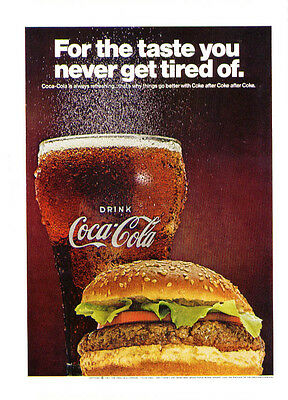 Taste you never get tired of Coca-Cola ad 1967 burger