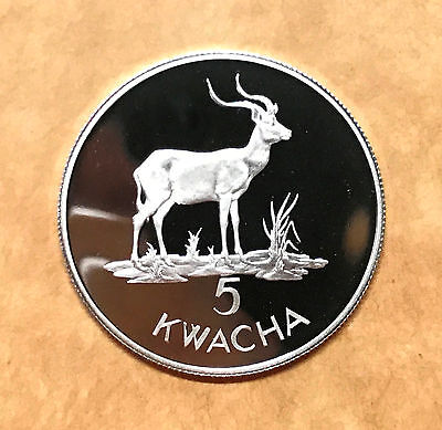 Zambia 5 Kwacha 1979 Wildlife WWF Conservation Silver Proof coins