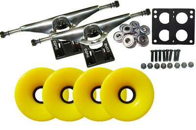 LONGBOARD Skateboard TRUCKS & WHEELS COMBO 76mm YELLOW