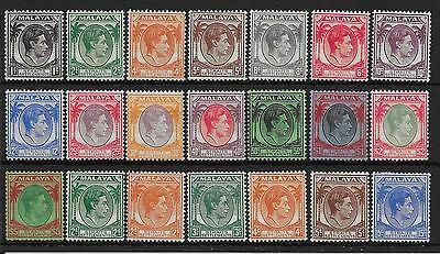 Malaya Straits Settlements Sg278/98 1937-41 Definitive Set Of 21 Mtd Mint