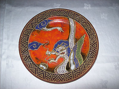 Oriental-Japanese Plate,Hand Painted Bright ,Colourful 'Fire Breathing Dragon'