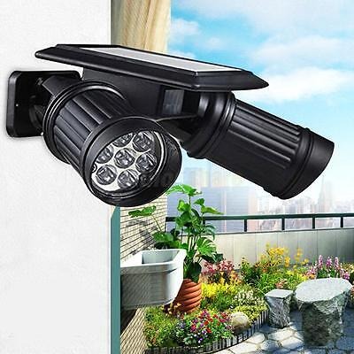 14 LED Dual Head Solar Powered Yard Lights PIR Motion Sensor Spotlight Wall lamp