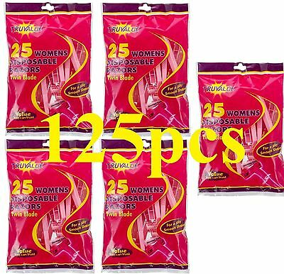 TRUVALUE 125 x DISPOSABLE RAZORS WOMENS TWIN BLADES (5 x PK25) 100% Brand New