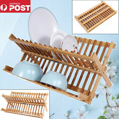Foldable Kitchen Bamboo Dish Rack Drainer Dinner Plates Storage Holder Stand AU