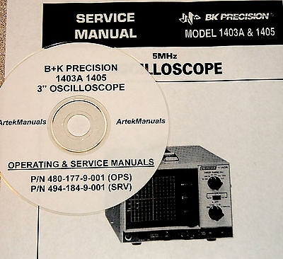 Manuals for  B+K PRECISION 1403A & 1405 Scope, Ops +Service+ Schematics 2Vol