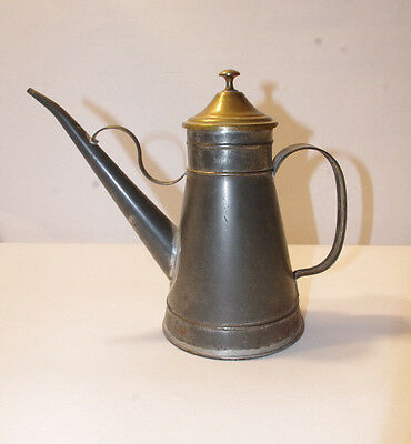 Antique / Vintage Kalian N.y.c. Made In Italy  Tin & Brass Tea Pot ? Water Can