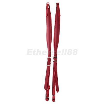 2pcs Red PU Leather Shoulder Straps Accordion Parts w/ Adjustable Length