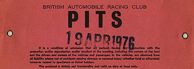 BARC Pits Armband Official pit worker armband 19 April 1976