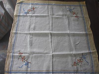Beautiful Vintage  Flower Hand  EMBROIDERED Linen Tablecloth,yellow & blue edge