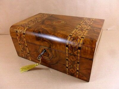 ANTIQUE VICTORIAN WALNUT  PARQUETRY  JEWELLERY/SEWING  BOX.C1860-1880 (Code 417)