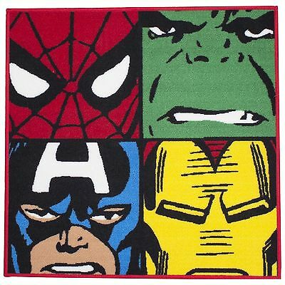 Marvel Comics Defenders Square Rug Floor Mat New Iron Man Hulk