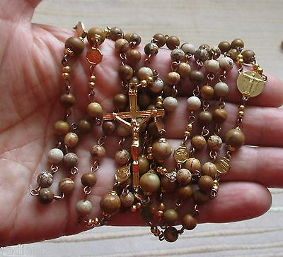 FRANCISCAN CROWN ROSARY Beautiful Handmade Mixed Yellow Jasper + Leaflet