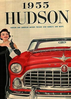 1955 HUDSON HORNET and WASP COLOR SALES BROCHURE FOLDER