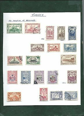 Turkey Ottoman Empire & Armenia nice lot of 39 MH & used stamps on album page