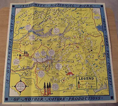 "RARE! ORIGINAL 1948 HYSTERICAL MAP of ""YOSEMITE NATIONAL PARK"" Jolly Lindgren~"