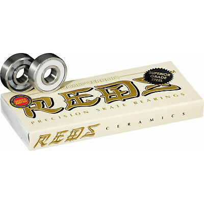 BONES CERAMIC SUPER REDS Skateboard Bearings 8-Pack 8mm Precision Competition