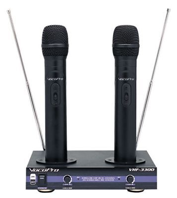 Vocopro VHF-3300 2-Ch / Dual Rechargeable Wireless Microphone System - New