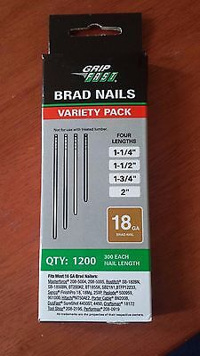 Brad Nails variety pack Grip Fast 18 ga - pack of 1200 - 4 lengths - NEW!