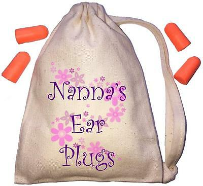 Nanna's Floral Design TINY Ear Plugs Storage Bag & 4 Ear Plugs DIY / Snoring