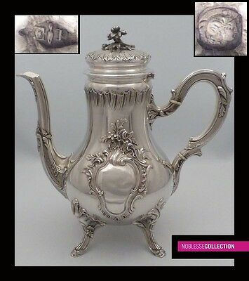 PUIFORCAT LUXURIOUS ANTIQUE 1880s FRENCH EMBOSSED STERLING SILVER TEA POT Rococo