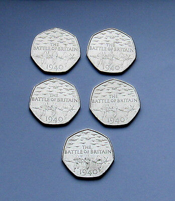 5 x Collectable, Battle Of Britain Circulated 50p Coins.