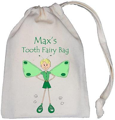 Personalised Boy Tooth Fairy Bag (Green) - TINY Natural Cotton Bag 10x13cm