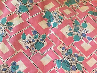 Vintage Pink & White Floral Print Cotton Fabric 36 Inches Wide