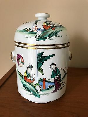 Chinese Hand painted  Porcelain Tea Caddy  Calligraphy 3 pieces FIGURES
