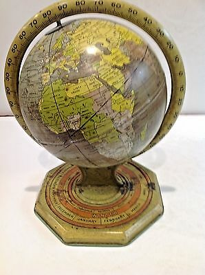 Vintage Tin World Globe w/Zodiac, Seasons, Months