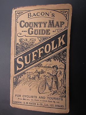 c1912 Bacon's County Map and Guide Suffolk price 6d for Cyclists and Tourists