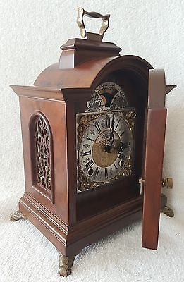Rare Warmink Clock Mantel Shelf 8 Day Nut Wood Moonphase With Gong 60s Vintage