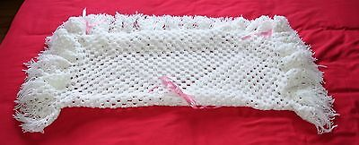 New  White  Hand Made Crocheted Baby Blanket / Shawl
