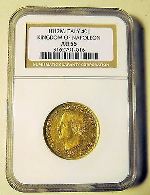 1812 Italian States kingdom Of Napoleon 40 Lire Gold Coin, NGC AU-55