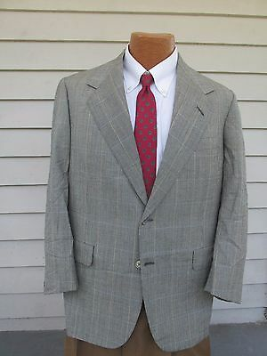 Oxxford 42 S Gray Blue Plaid Wool Two Button Men's Sports Coat EUC