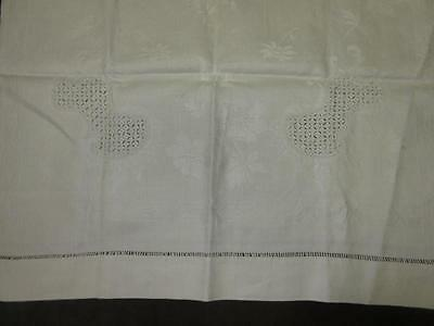 Pair Vtg Antique DAMASK LINEN FRENCH PATTERN Flower Cartouche Bath Towel 22x44.5