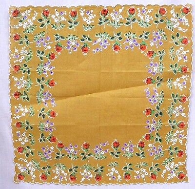 Vintage Ladies Hankie Dbl Border Asst Garden Flowers Floral Print on Brown