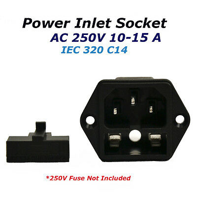 AC Male Power Plug Inlet Socket w/ Switch Fuse Holder - 250V 10-15A IEC 320 x1PC