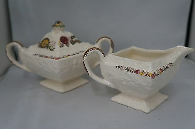 "Antique Mason's Patent Ironstone ""Friarwood"" England Creamer Lidded Sugar Floral"