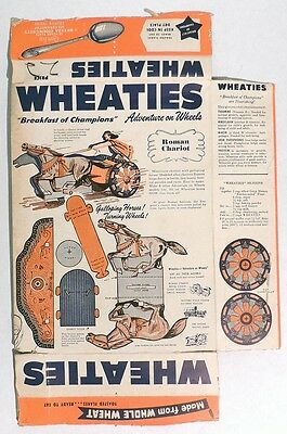 P531. Vintage: WHEATIES CEREAL BOX FLAT Adventure on Wheels Roman Chariot 1950s[