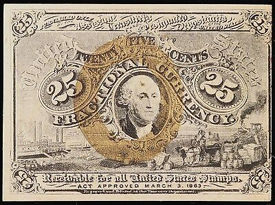 Series of 1863 25 Cent Fractional Currency Note, 2nd Issue, Fr# 1289. Uncirc.