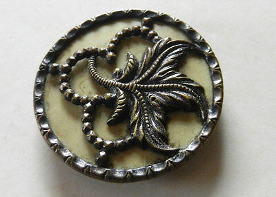 Pretty Antique Victorian Metal Button with Celluloid Background