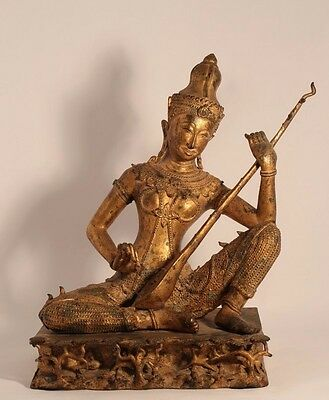 Thailand Gilded Bronze statue of Saraswati playing a Vina