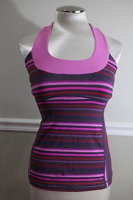 Lululemon Athletica Women's Purple Striped T Back Workout Top Size (S) (lu100