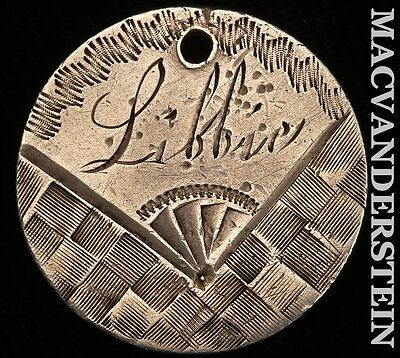 """1874 Seated Liberty Dime Love Token- """"libbie"""" !! Better Date !! #r478"""