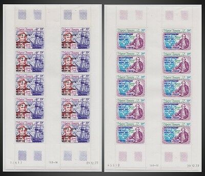 1979 French Polynesia Sc# C166-C167 Captain James Cook COMPLETE PLATES MNH AIR