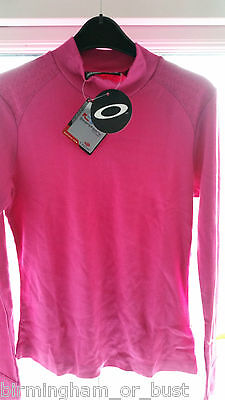 Damen Oakley Langärmelig Hot Pink Golf Oberteil 53262 UK S M L XL