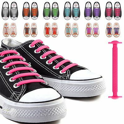 16xEasy No Tie Elastic Silicone Shoe Laces For Adults & Kids Trainers Shoes