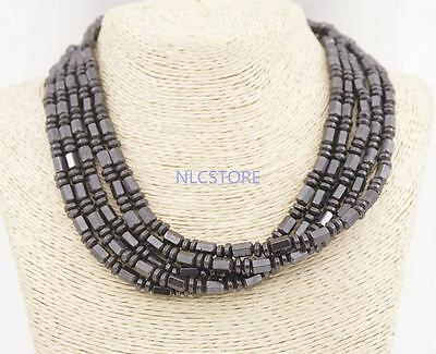"""5 PCS 6-7mm natural black magnetic hematite abacus beads necklace 18"""" long"""