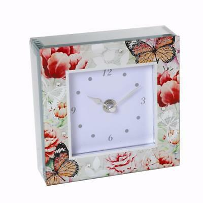 Beautiful Mirror Glass Butterfly Mantel Clock 15716STR