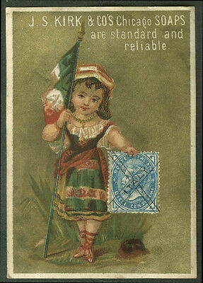 J S Kirk Chicago Soap trade card girl Italy garb flag & postage stamp 1880s